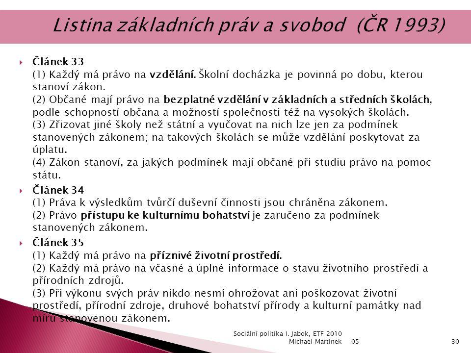  Článek 33 (1) Každý má právo na vzdělání.
