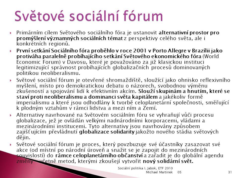  Primárním cílem Světového sociálního fóra je ustanovit alternativní prostor pro promýšlení významných sociálních témat z perspektivy celého světa, ale i konkrétních regionů.