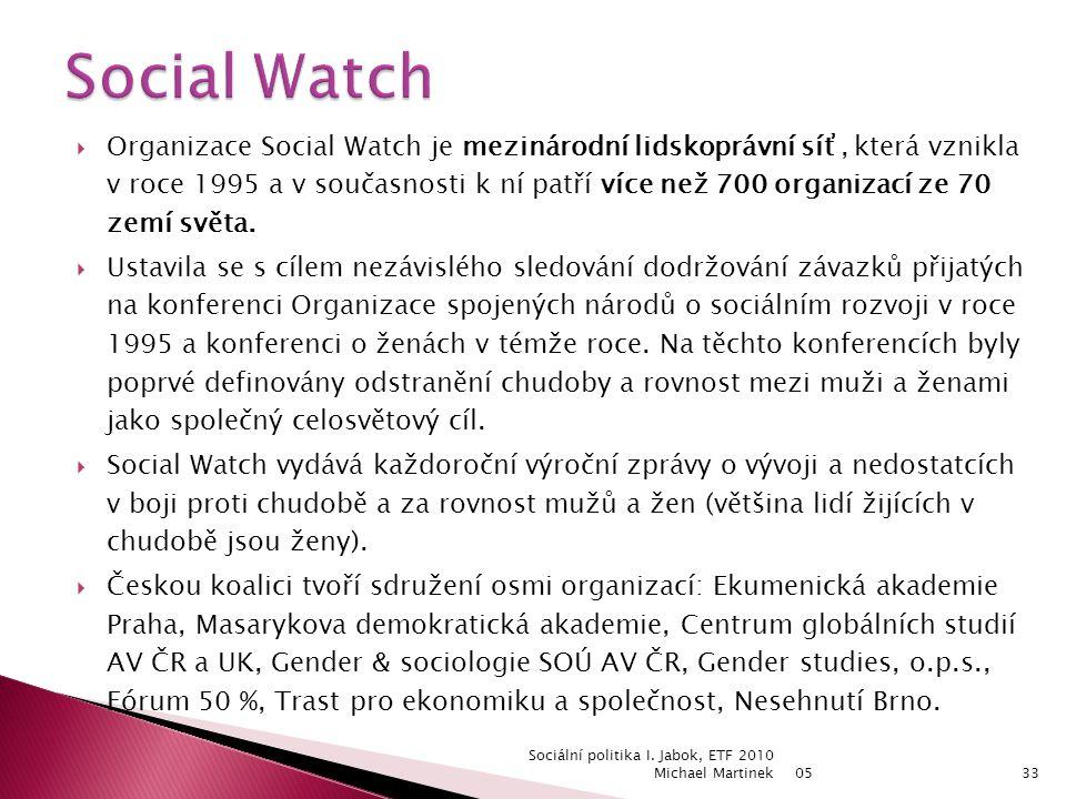  Organizace Social Watch je mezinárodní lidskoprávní síť, která vznikla v roce 1995 a v současnosti k ní patří více než 700 organizací ze 70 zemí světa.