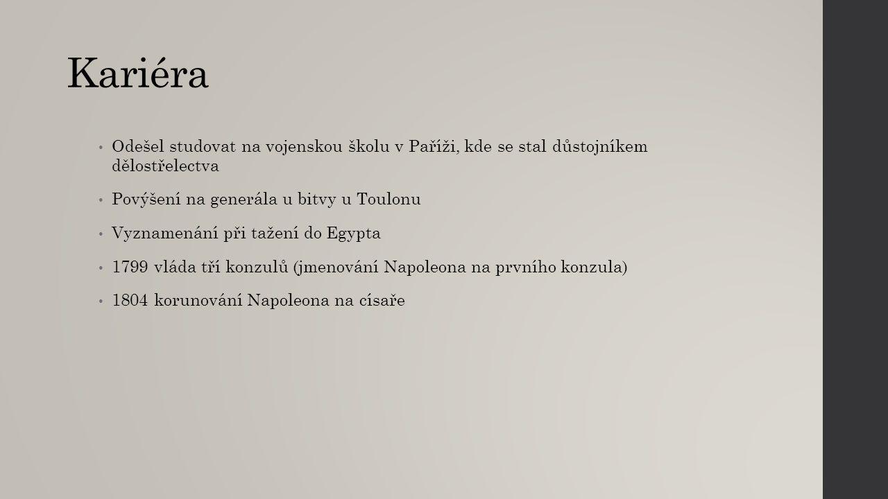 Bitvy Bitva v Egyptě (Napoleon ještě generálem) 1805 Bitva u Slavkova v Brně -,,Bitva tří císařů 1812 tažení do Ruska, katastrofální porážka 1813 bitva národů u Lipsa – porážka Napoleona a abdikace na ostrov Elba 1815 bitva u Waterloo – definitivní porážka - abdikace na ostrov Sv.