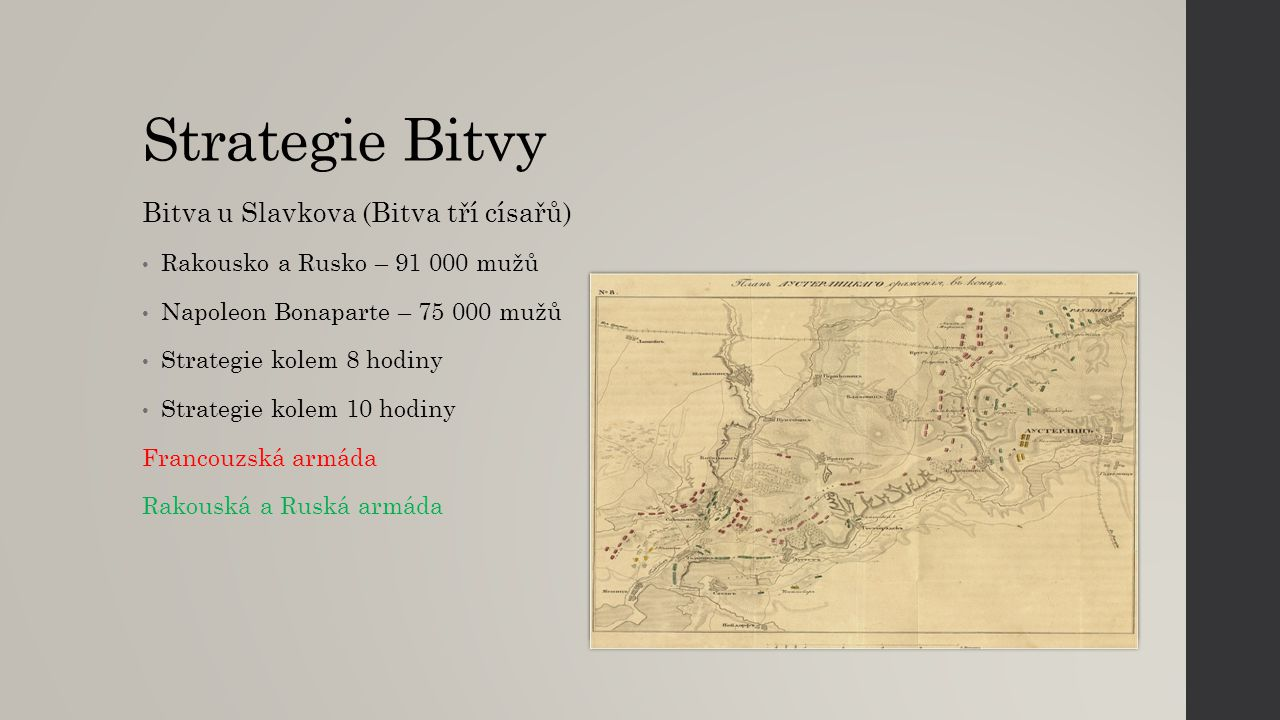Strategie Bitvy Bitva u Slavkova (Bitva tří císařů) Rakousko a Rusko – 91 000 mužů Napoleon Bonaparte – 75 000 mužů Strategie kolem 8 hodiny Strategie