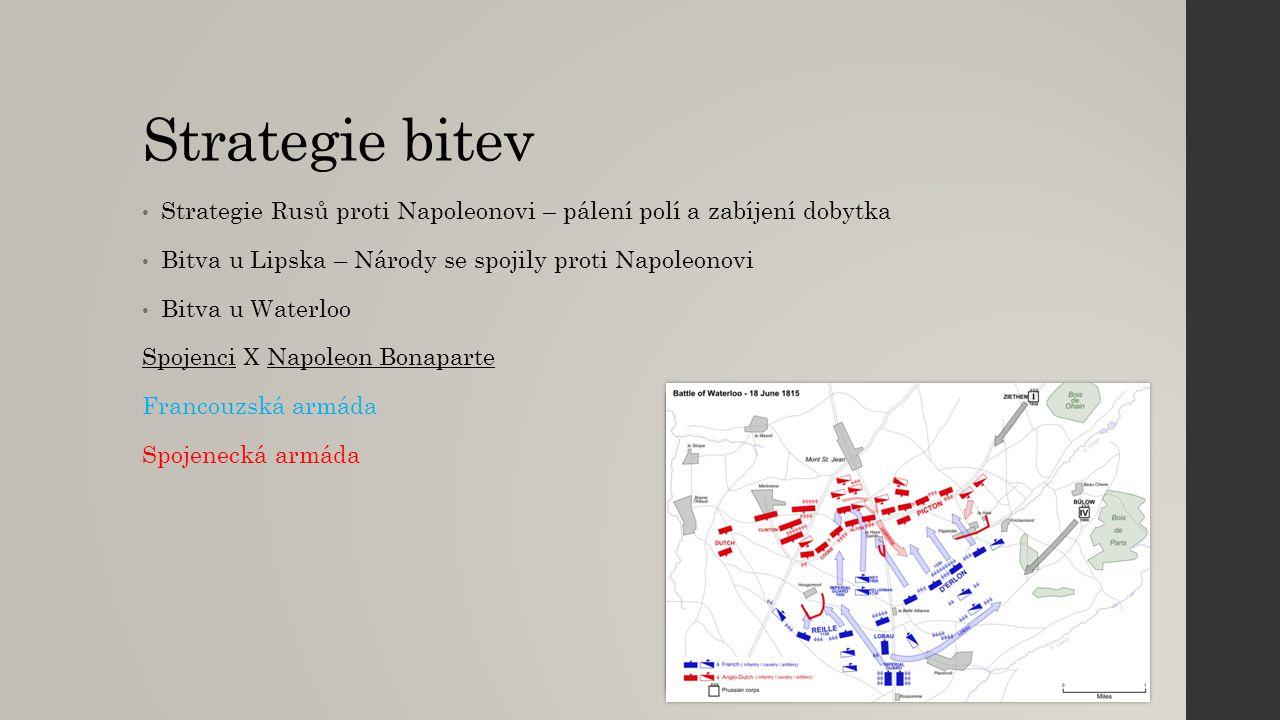 Strategie bitev Strategie Rusů proti Napoleonovi – pálení polí a zabíjení dobytka Bitva u Lipska – Národy se spojily proti Napoleonovi Bitva u Waterlo