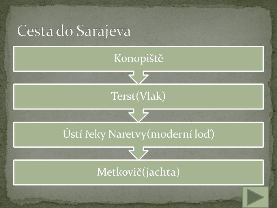 Metkovič(jachta) Ústí řeky Naretvy(moderní loď) Terst(Vlak) Konopiště