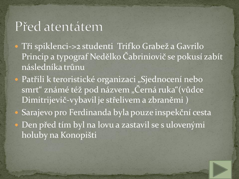 Tři spiklenci->2 studenti Trifko Grabež a Gavrilo Princip a typograf Nedělko Čabriniovič se pokusí zabít následníka trůnu Patřili k teroristické organ