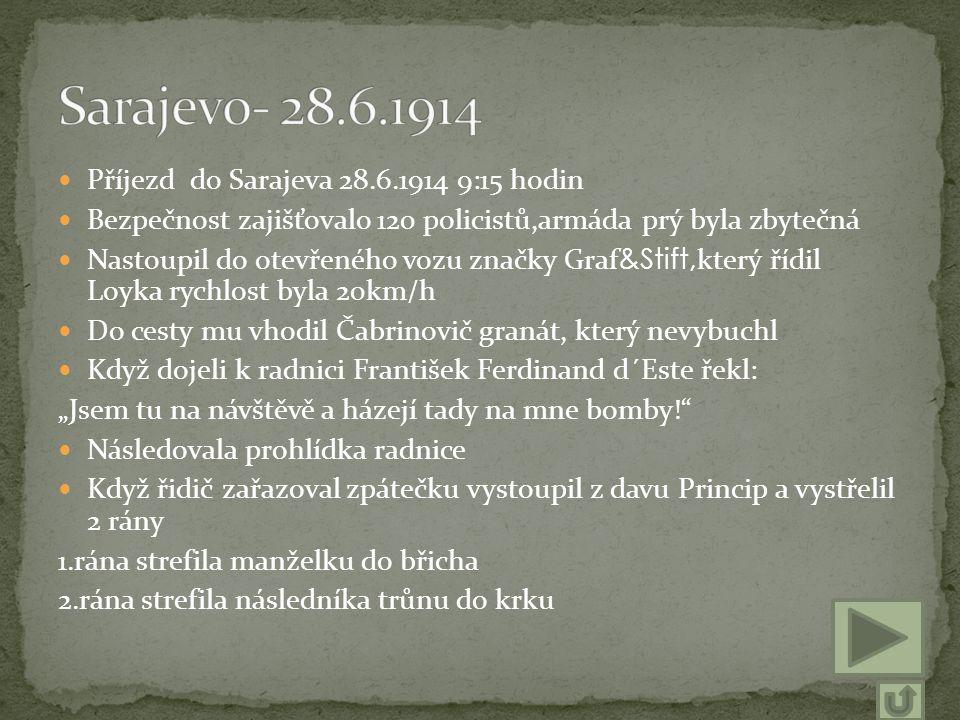Příjezd do Sarajeva 28.6.1914 9:15 hodin Bezpečnost zajišťovalo 120 policistů,armáda prý byla zbytečná Nastoupil do otevřeného vozu značky Graf &Stift