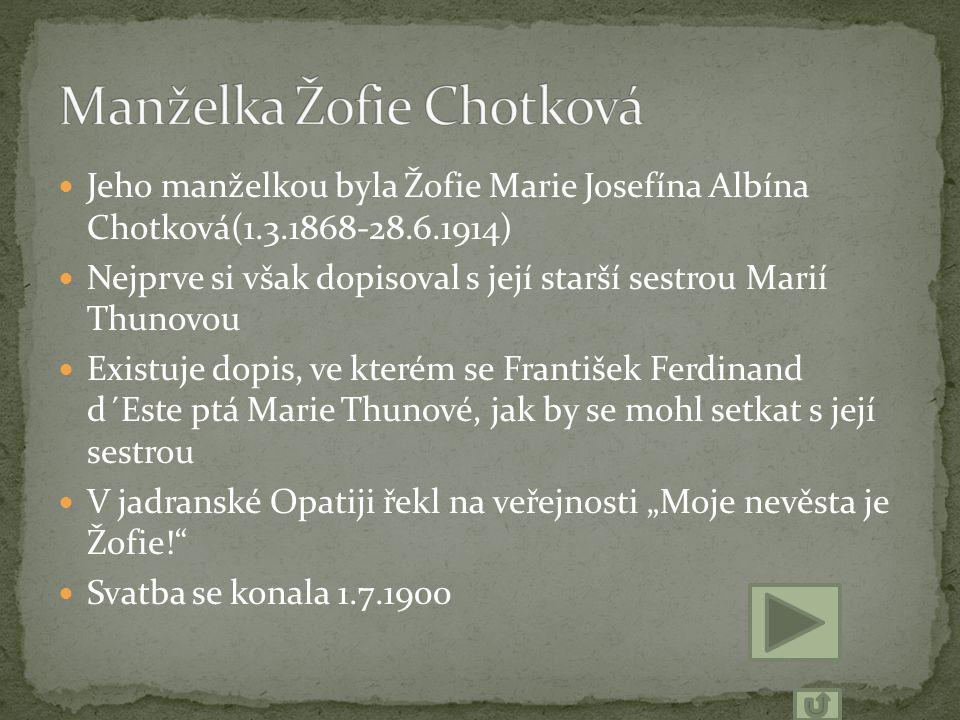 Jeho manželkou byla Žofie Marie Josefína Albína Chotková(1.3.1868-28.6.1914) Nejprve si však dopisoval s její starší sestrou Marií Thunovou Existuje d