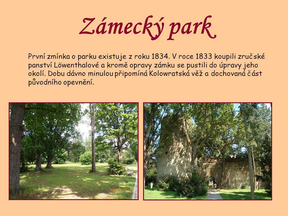 Zámecký park První zmínka o parku existuje z roku 1834. V roce 1833 koupili zručské panství Löwenthalové a kromě opravy zámku se pustili do úpravy jeh