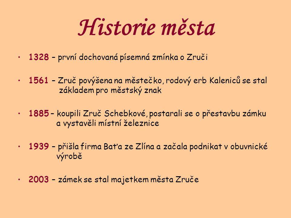 Historie města 1328 – první dochovaná písemná zmínka o Zruči 1561 – Zruč povýšena na městečko, rodový erb Kaleniců se stal základem pro městský znak 1