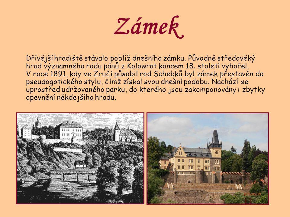 Zámek Dřívější hradiště stávalo poblíž dnešního zámku. Původně středověký hrad významného rodu pánů z Kolowrat koncem 18. století vyhořel. V roce 1891