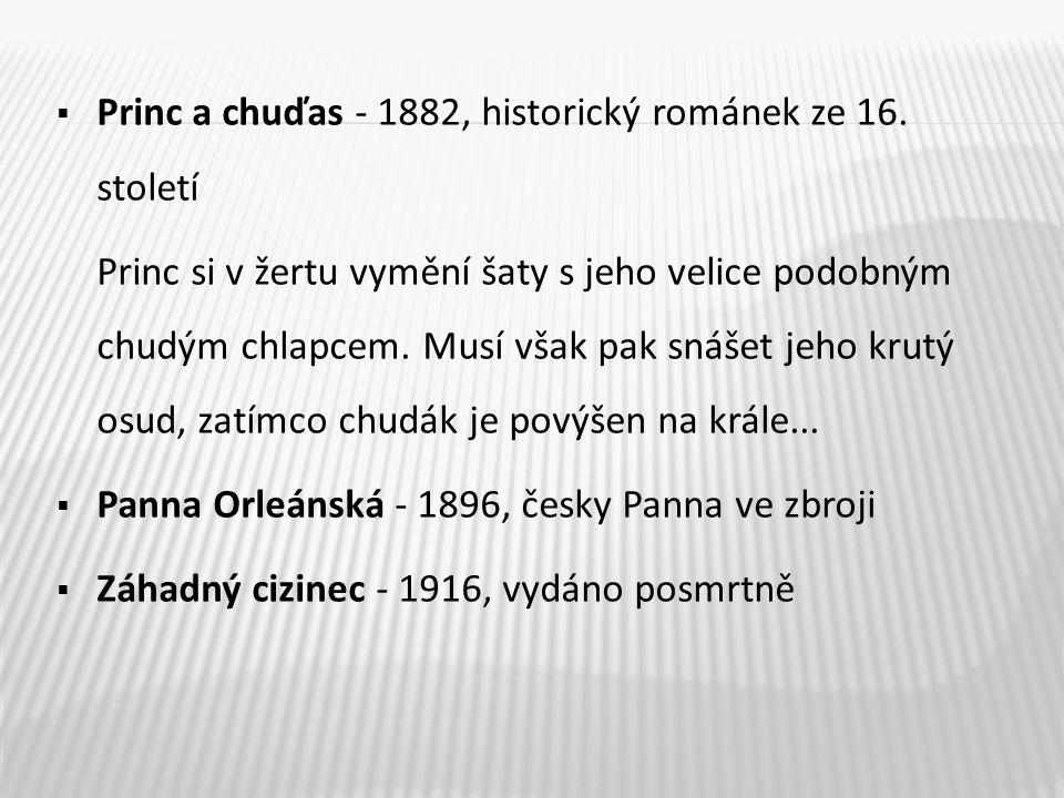  Princ a chuďas - 1882, historický románek ze 16.