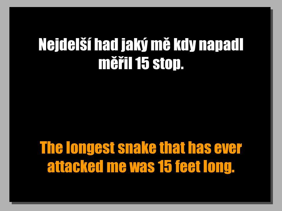 Nejdelší had jaký mě kdy napadl měřil 15 stop. The longest snake that has ever attacked me was 15 feet long.