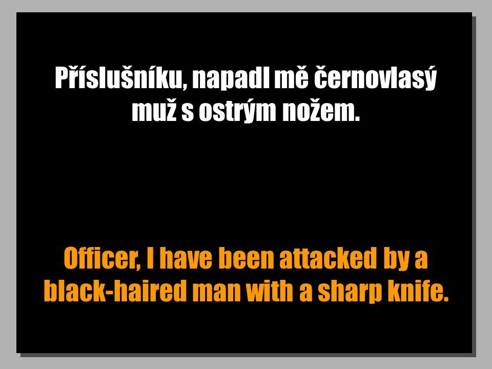 Příslušníku, napadl mě černovlasý muž s ostrým nožem. Officer, I have been attacked by a black-haired man with a sharp knife.