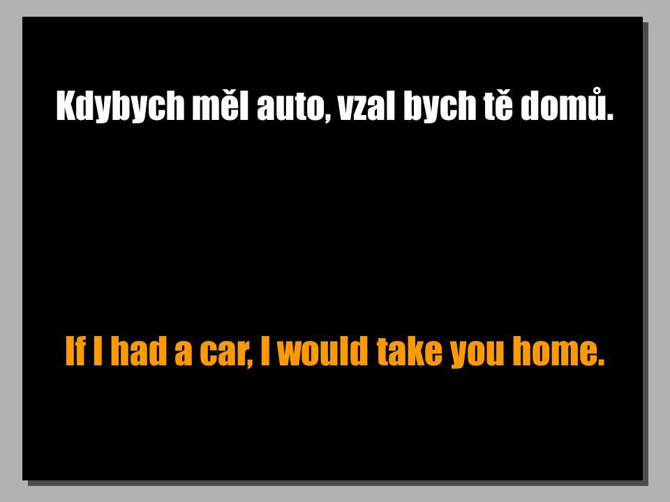 Kdybych měl auto, vzal bych tě domů. If I had a car, I would take you home.