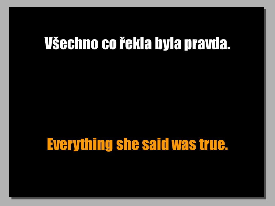 Všechno co řekla byla pravda. Everything she said was true.