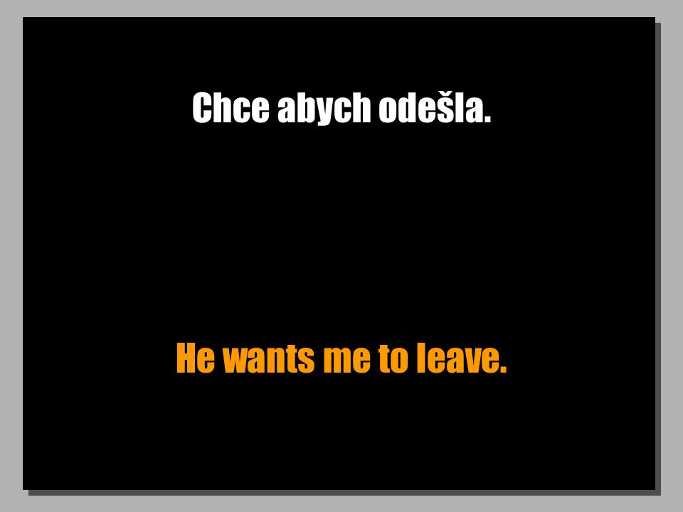 Chce abych odešla. He wants me to leave.