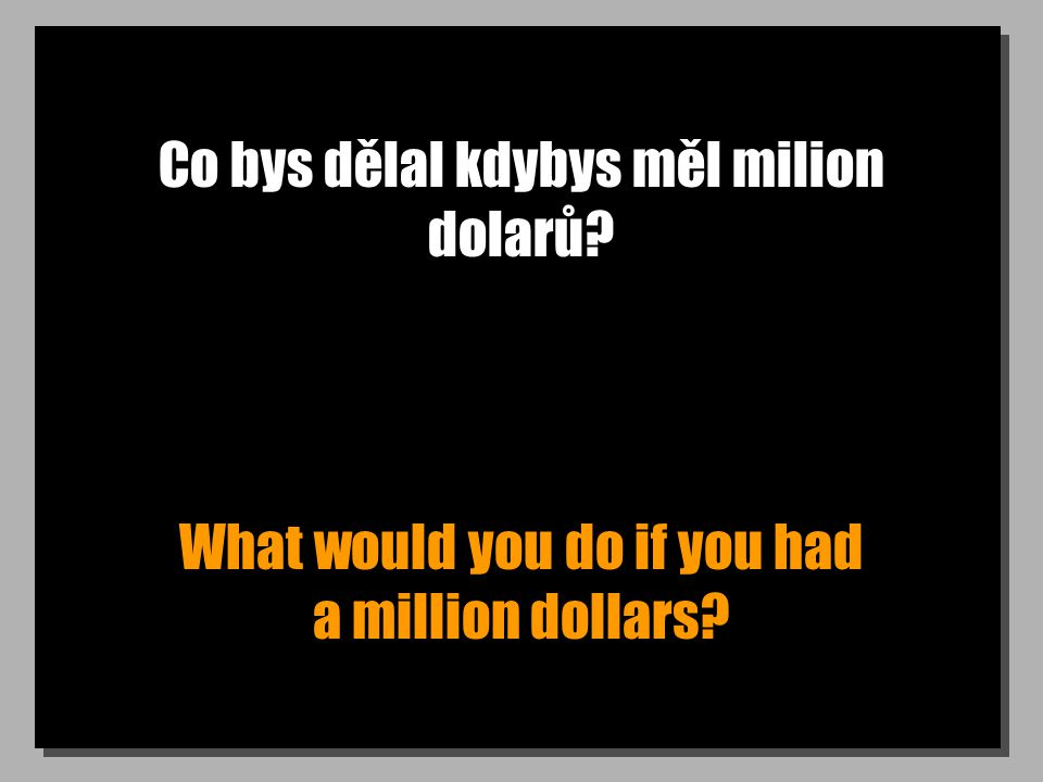 Co bys dělal kdybys měl milion dolarů? What would you do if you had a million dollars?