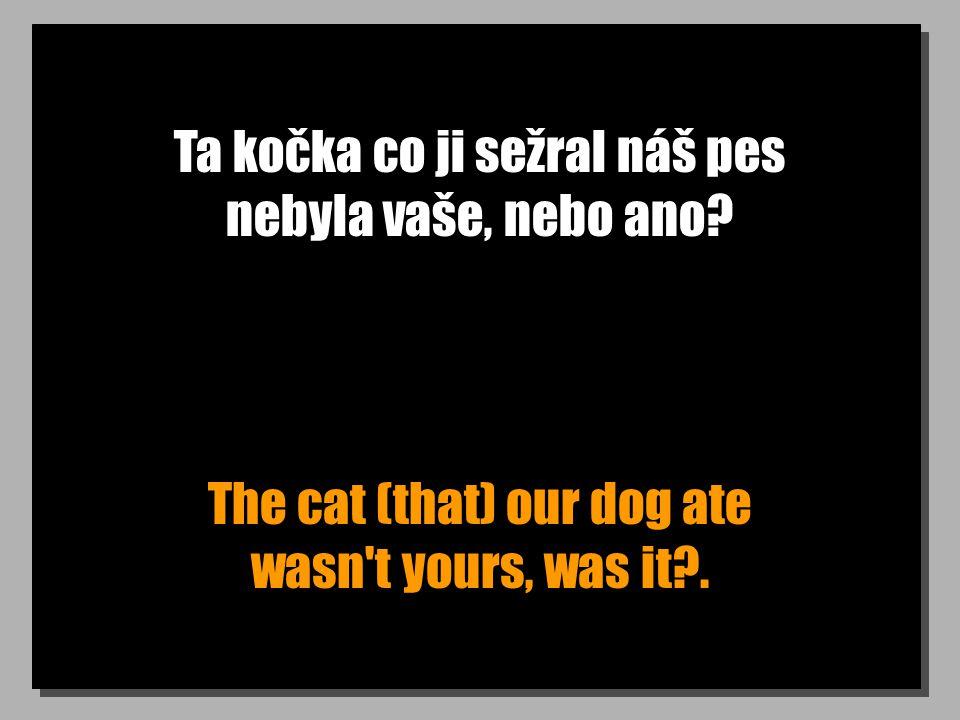 Ta kočka co ji sežral náš pes nebyla vaše, nebo ano? The cat (that) our dog ate wasn't yours, was it?.
