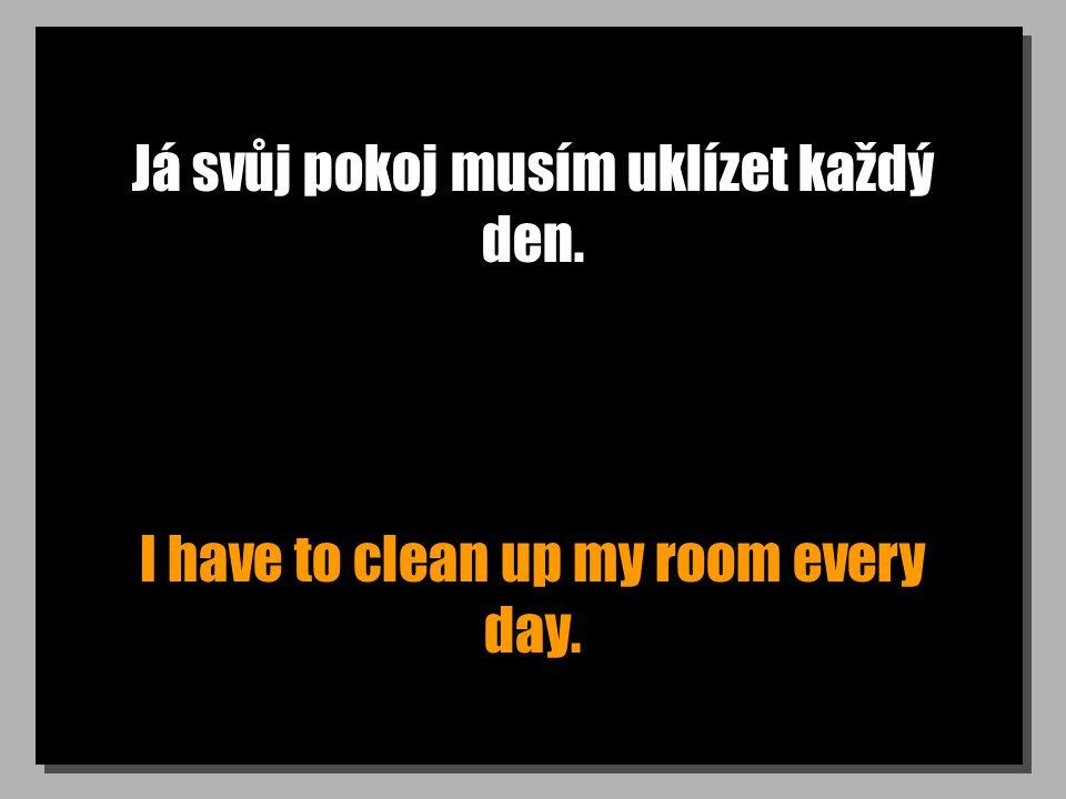 Já svůj pokoj musím uklízet každý den. I have to clean up my room every day.