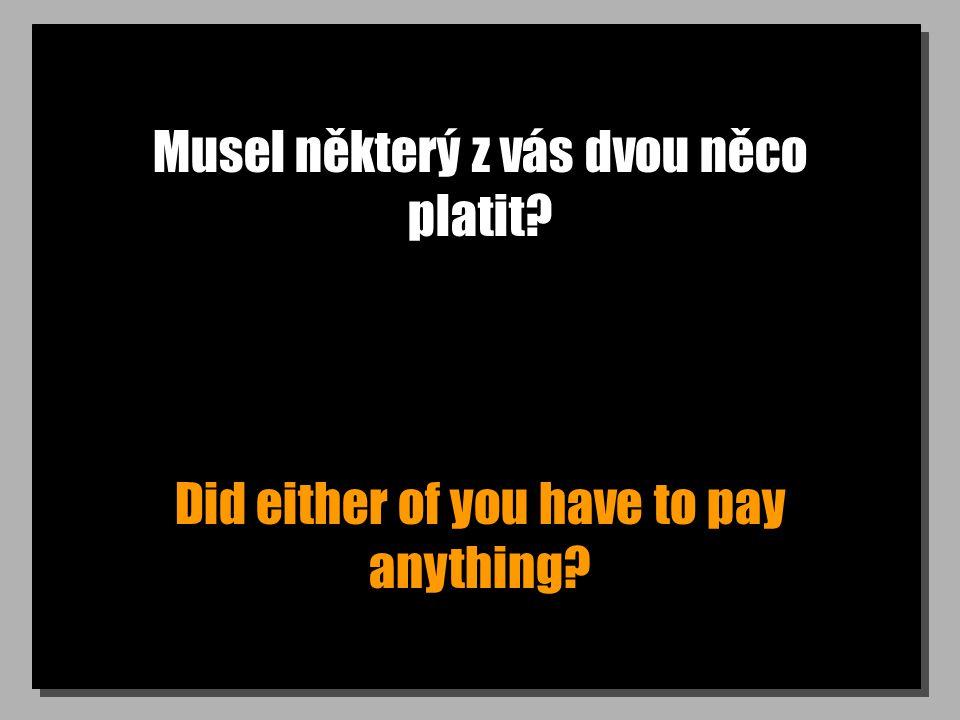 Musel některý z vás dvou něco platit? Did either of you have to pay anything?