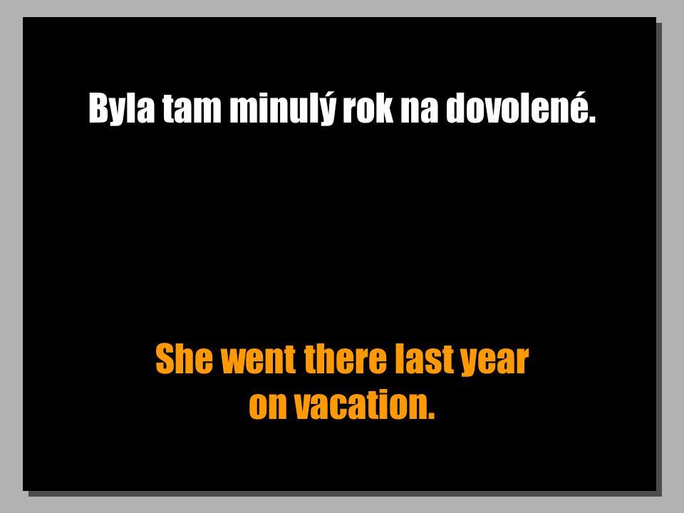 Byla tam minulý rok na dovolené. She went there last year on vacation.