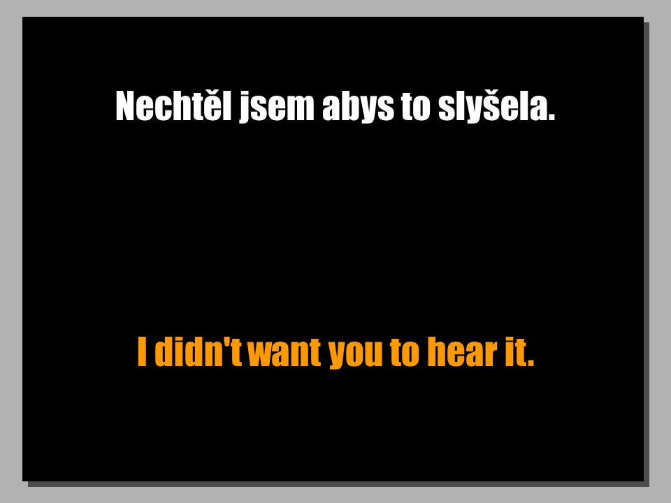 Nechtěl jsem abys to slyšela. I didn t want you to hear it.