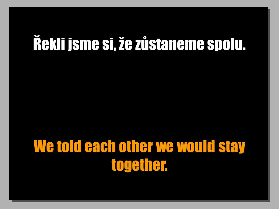 Řekli jsme si, že zůstaneme spolu. We told each other we would stay together.
