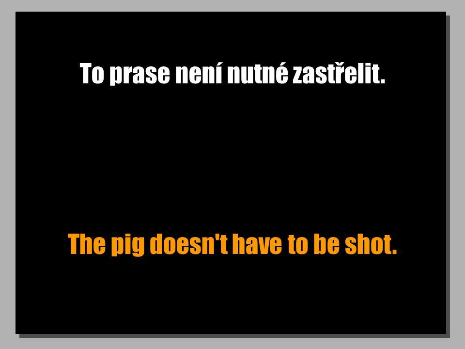 To prase není nutné zastřelit. The pig doesn t have to be shot.