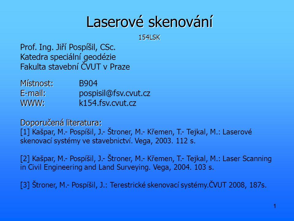 11 Laserové skenování 154LSK Prof.Ing. Jiří Pospíšil, CSc.