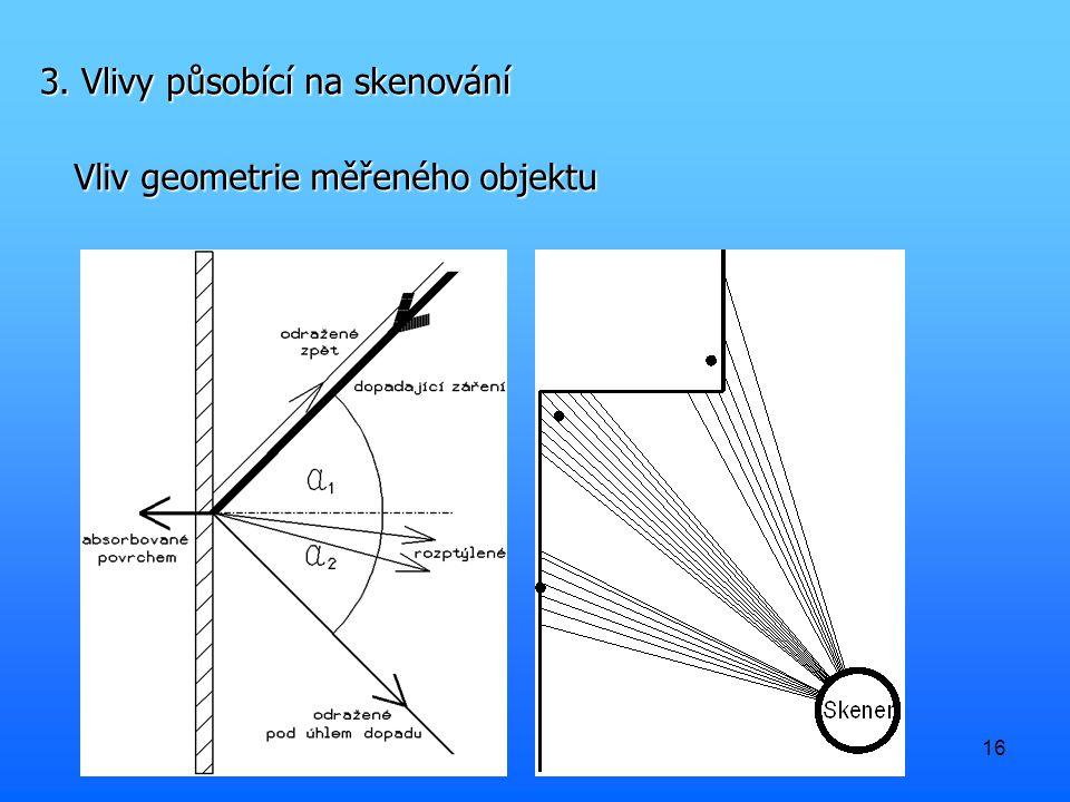 16 3. Vlivy působící na skenování Vliv geometrie měřeného objektu