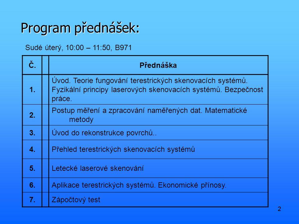 22 Program přednášek: Sudé úterý, 10:00 – 11:50, B971 Č.Přednáška 1.