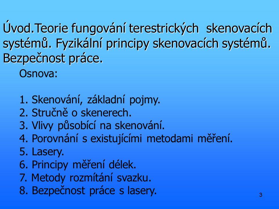 33 Úvod.Teorie fungování terestrických skenovacích systémů.