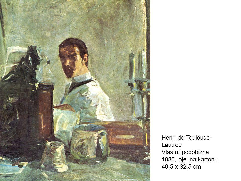 Henri de Toulouse- Lautrec Vlastní podobizna 1880, ojel na kartonu 40,5 x 32,5 cm