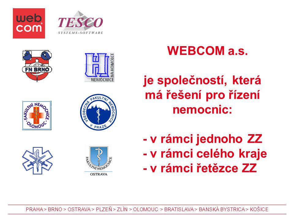 WEBCOM a.s. je společností, která má řešení pro řízení nemocnic: - v rámci jednoho ZZ - v rámci celého kraje - v rámci řetězce ZZ PRAHA > BRNO > OSTRA