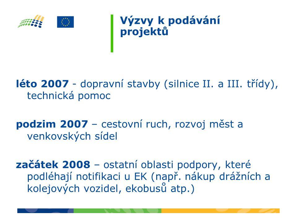 Výzvy k podávání projektů léto 2007 - dopravní stavby (silnice II.