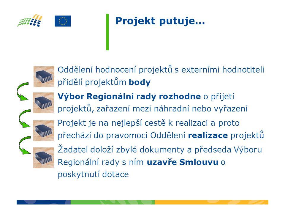 Projekt putuje… Oddělení hodnocení projektů s externími hodnotiteli přidělí projektům body Výbor Regionální rady rozhodne o přijetí projektů, zařazení mezi náhradní nebo vyřazení Projekt je na nejlepší cestě k realizaci a proto přechází do pravomoci Oddělení realizace projektů Žadatel doloží zbylé dokumenty a předseda Výboru Regionální rady s ním uzavře Smlouvu o poskytnutí dotace
