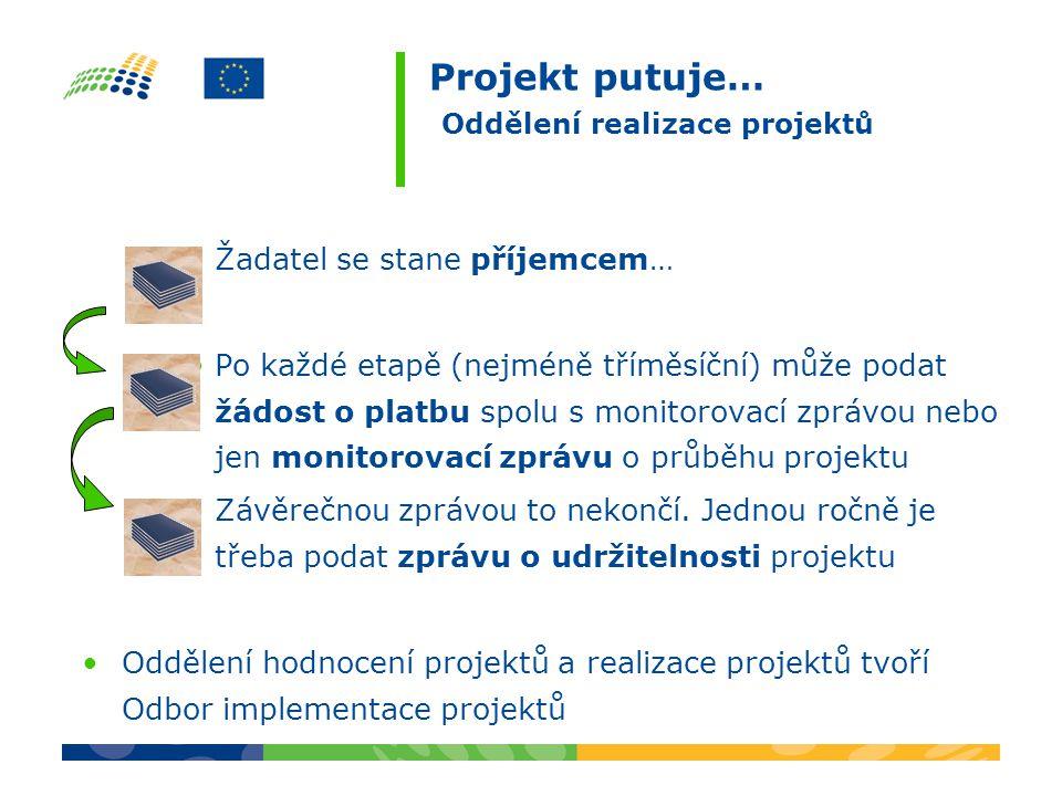 Projekt putuje… Oddělení realizace projektů Žadatel se stane příjemcem… Po každé etapě (nejméně tříměsíční) může podat žádost o platbu spolu s monitorovací zprávou nebo jen monitorovací zprávu o průběhu projektu Závěrečnou zprávou to nekončí.