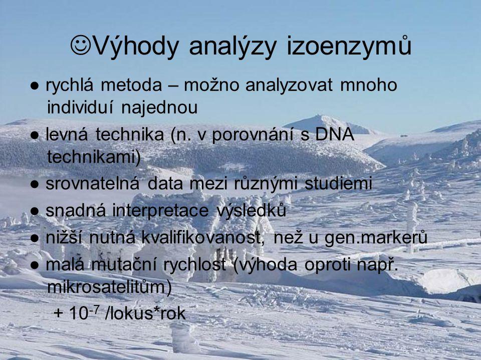 Výhody analýzy izoenzymů ● rychlá metoda – možno analyzovat mnoho individuí najednou ● levná technika (n. v porovnání s DNA technikami) ● srovnatelná