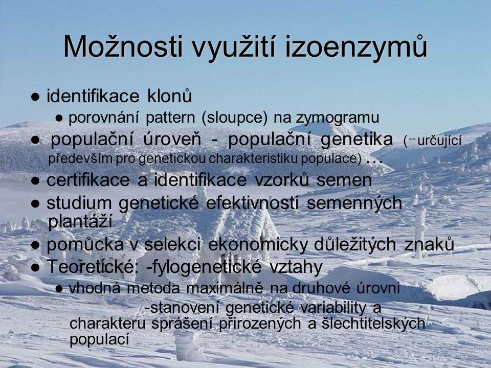 Možnosti využití izoenzymů ● identifikace klonů ● porovnání pattern (sloupce) na zymogramu ● populační úroveň - populační genetika ( určující předevší