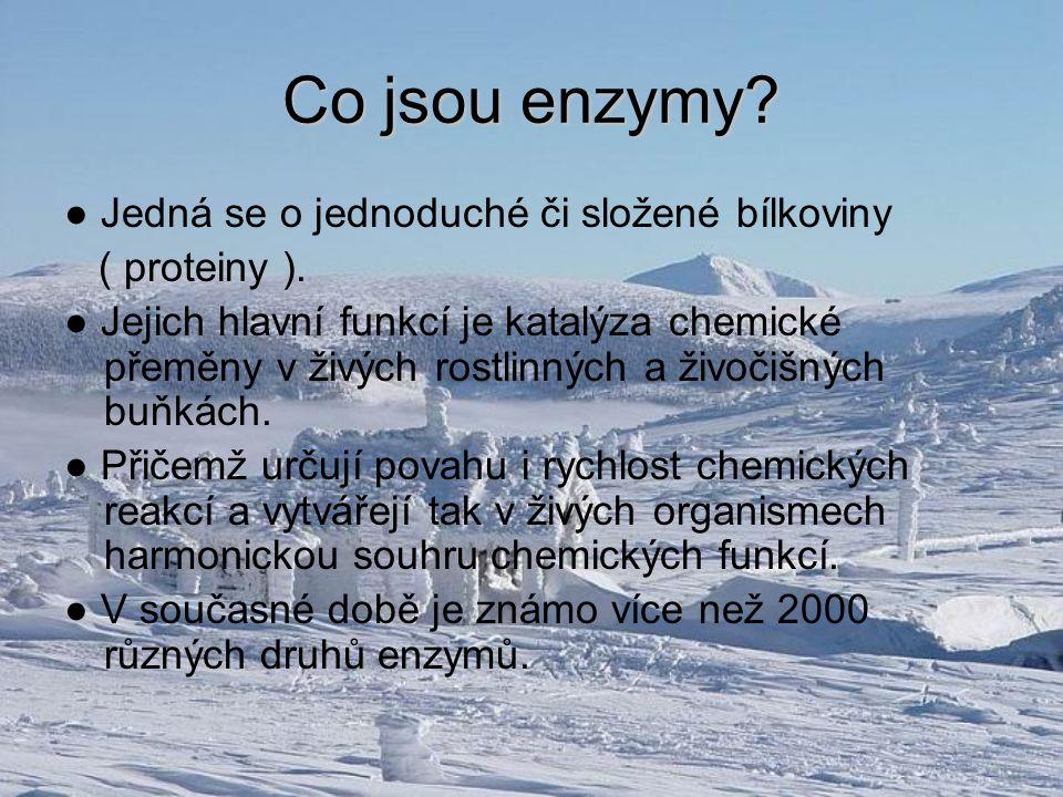 Co jsou enzymy? ● Jedná se o jednoduché či složené bílkoviny ( proteiny ). ● Jejich hlavní funkcí je katalýza chemické přeměny v živých rostlinných a