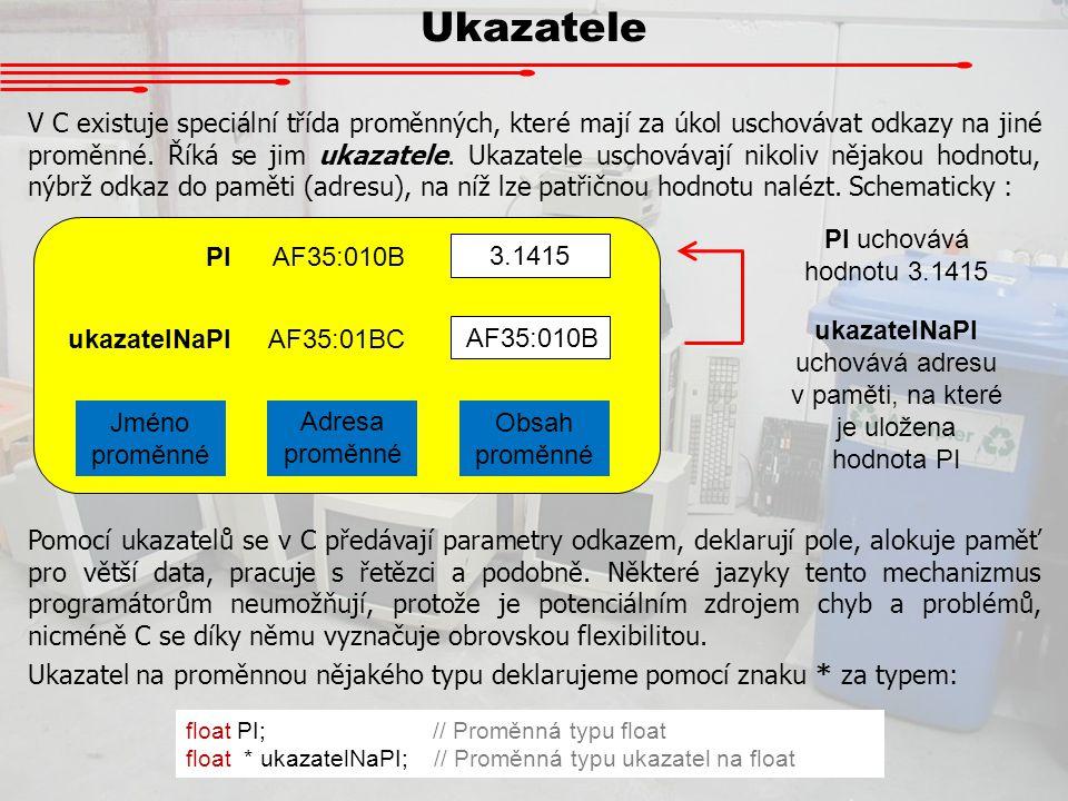 Ukazatele 3.1415 PIAF35:010B ukazatelNaPIAF35:01BC Jméno proměnné Adresa proměnné Obsah proměnné V C existuje speciální třída proměnných, které mají z