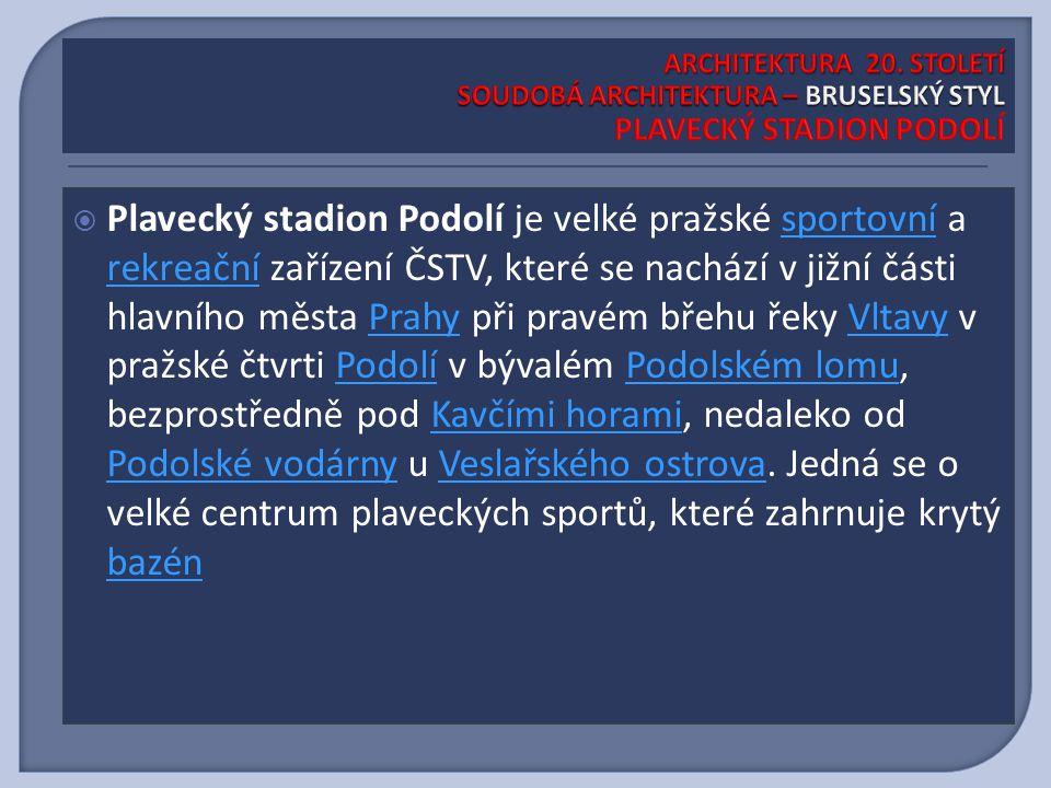  Plavecký stadion Podolí je velké pražské sportovní a rekreační zařízení ČSTV, které se nachází v jižní části hlavního města Prahy při pravém břehu řeky Vltavy v pražské čtvrti Podolí v bývalém Podolském lomu, bezprostředně pod Kavčími horami, nedaleko od Podolské vodárny u Veslařského ostrova.