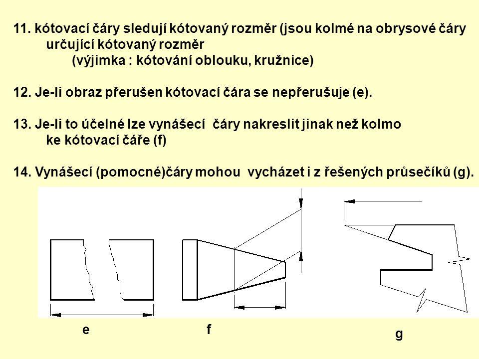 11. kótovací čáry sledují kótovaný rozměr (jsou kolmé na obrysové čáry určující kótovaný rozměr (výjimka : kótování oblouku, kružnice) 12. Je-li obraz