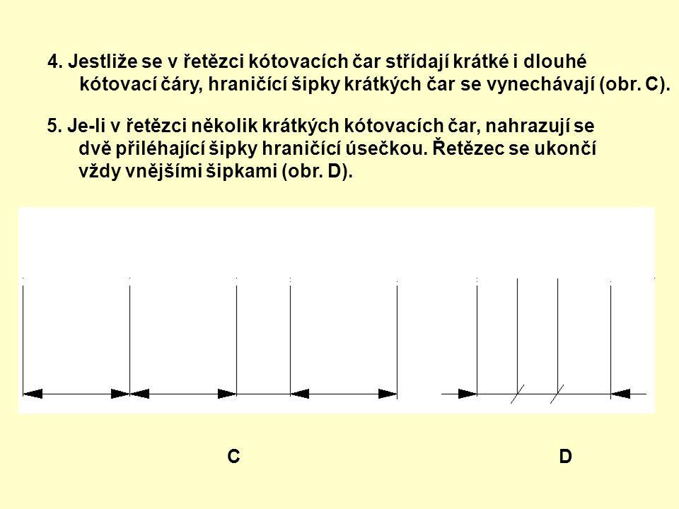 4. Jestliže se v řetězci kótovacích čar střídají krátké i dlouhé kótovací čáry, hraničící šipky krátkých čar se vynechávají (obr. C). 5. Je-li v řetěz