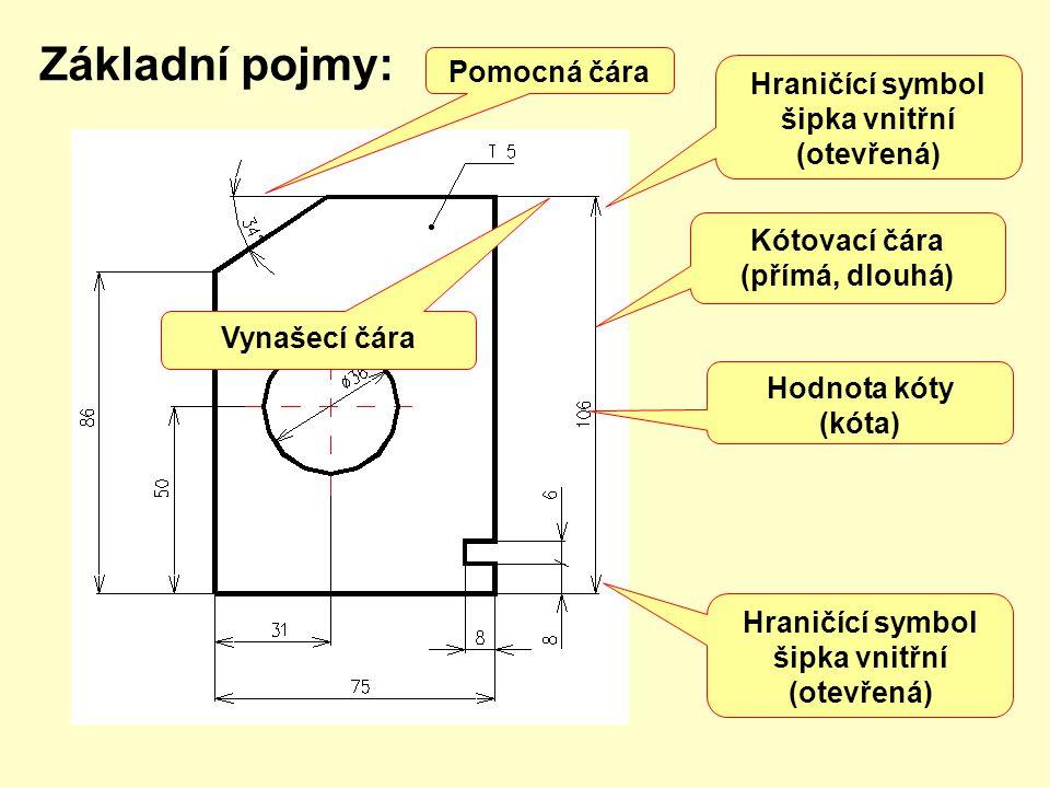 Základní pojmy: Kótovací čára (přímá, dlouhá) Hodnota kóty (kóta) Hraničící symbol šipka vnitřní (otevřená) Hraničící symbol šipka vnitřní (otevřená) Vynašecí čára Pomocná čára