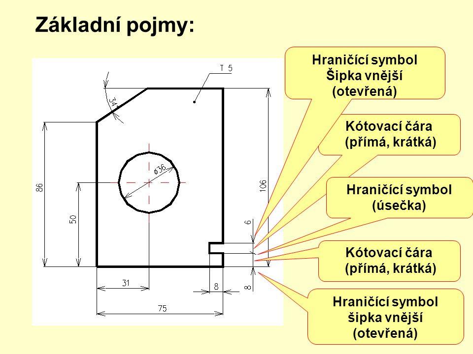 Základní pojmy: Kótování oblouku (hodnota kóty ve stupních) Kótování radiusu (doplňkový symbol, hodnota kóty Kótování na odkazové čáře (odkaz.čára, praporek o.č., kóta) Kótování průměru (doplňkový symbol, hodnota kóty)