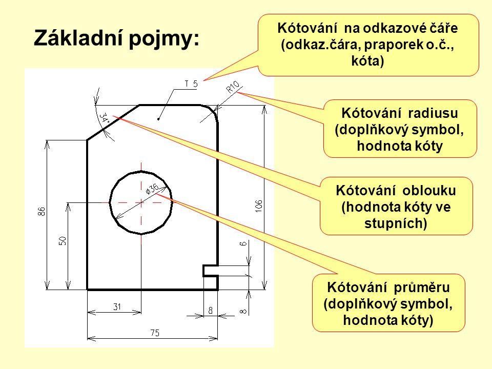 5.Kótovací čáry se umísťují přednostně vně obrazu předmětu.