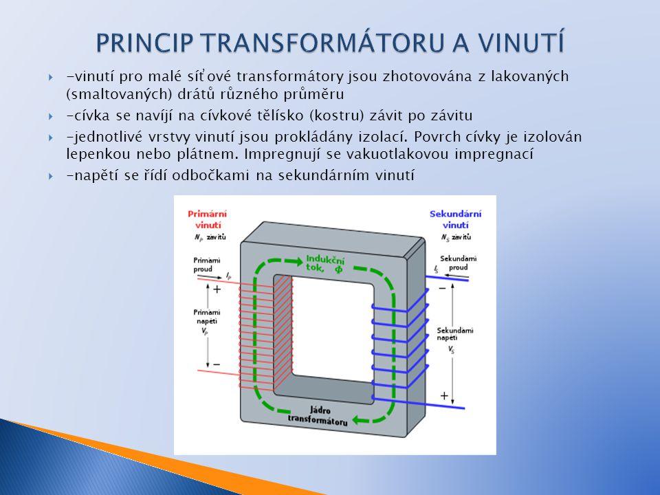  -vinutí pro malé síťové transformátory jsou zhotovována z lakovaných (smaltovaných) drátů různého průměru  -cívka se navíjí na cívkové tělísko (kos