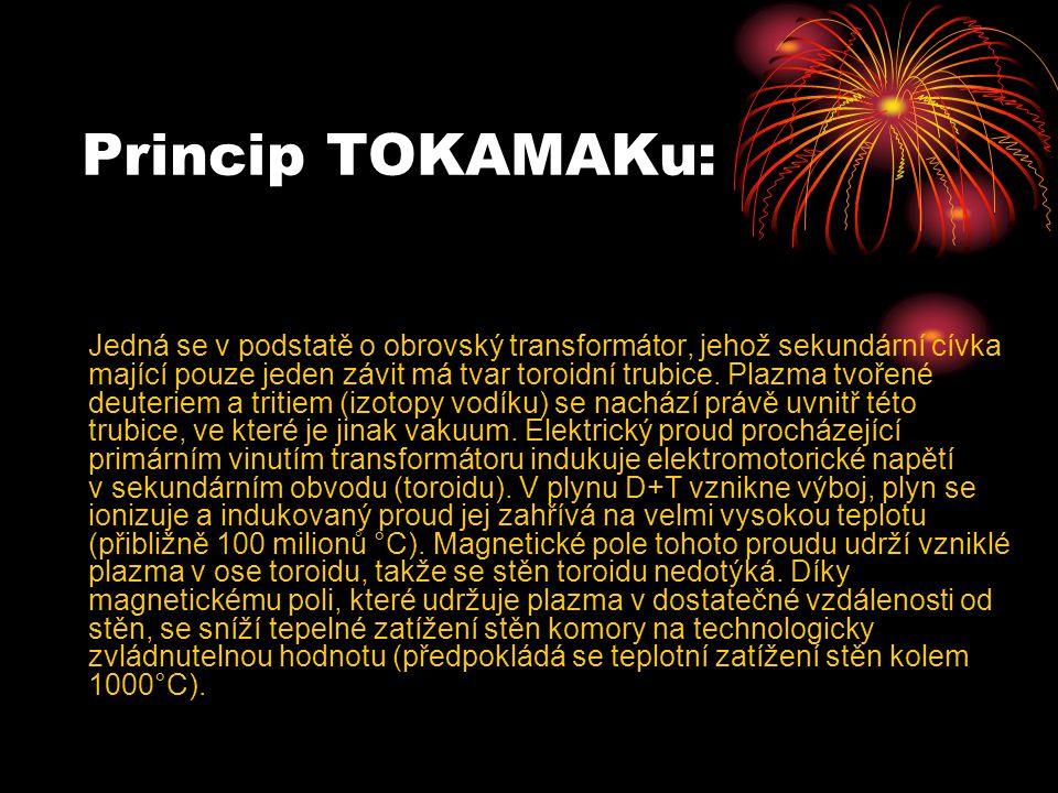 Princip TOKAMAKu: Jedná se v podstatě o obrovský transformátor, jehož sekundární cívka mající pouze jeden závit má tvar toroidní trubice.