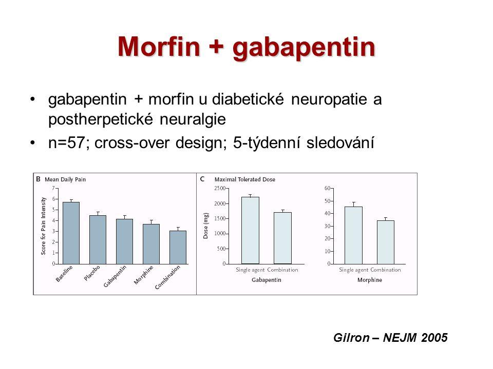 Morfin + gabapentin gabapentin + morfin u diabetické neuropatie a postherpetické neuralgie n=57; cross-over design; 5-týdenní sledování Gilron – NEJM