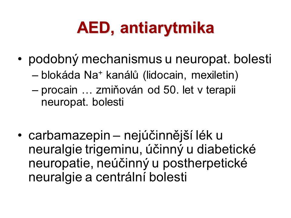 AED, antiarytmika podobný mechanismus u neuropat. bolesti –blokáda Na + kanálů (lidocain, mexiletin) –procain … zmiňován od 50. let v terapii neuropat